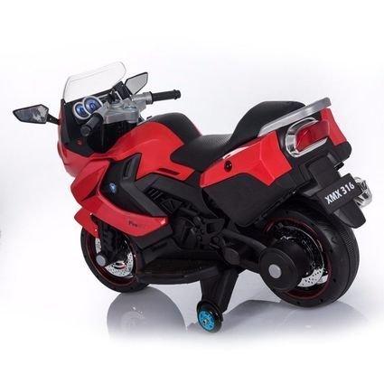 Электромобиль мотоцикл BMW K1200GT Red 12V (резиновые колеса, кожаное кресло, свет фар, музыка)
